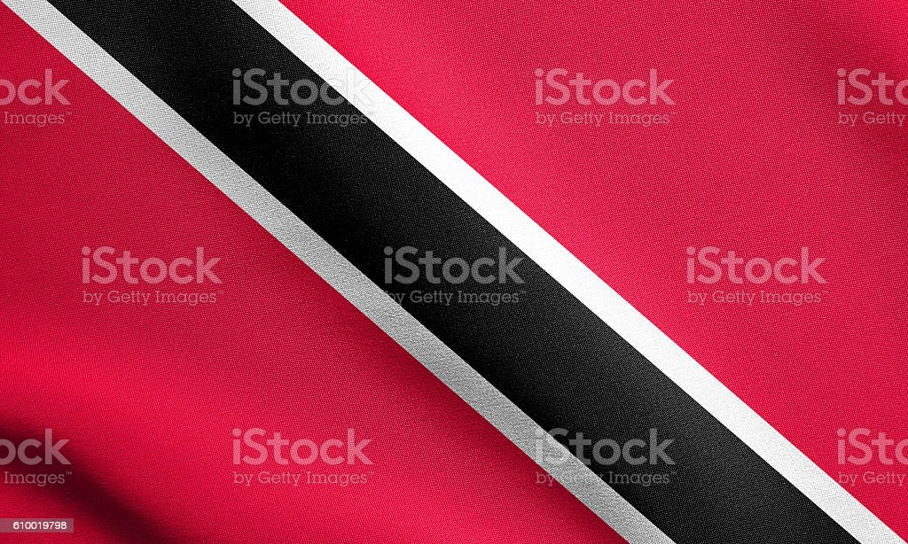 Trinidad and Tobago flag waving, fabric texture stock photo