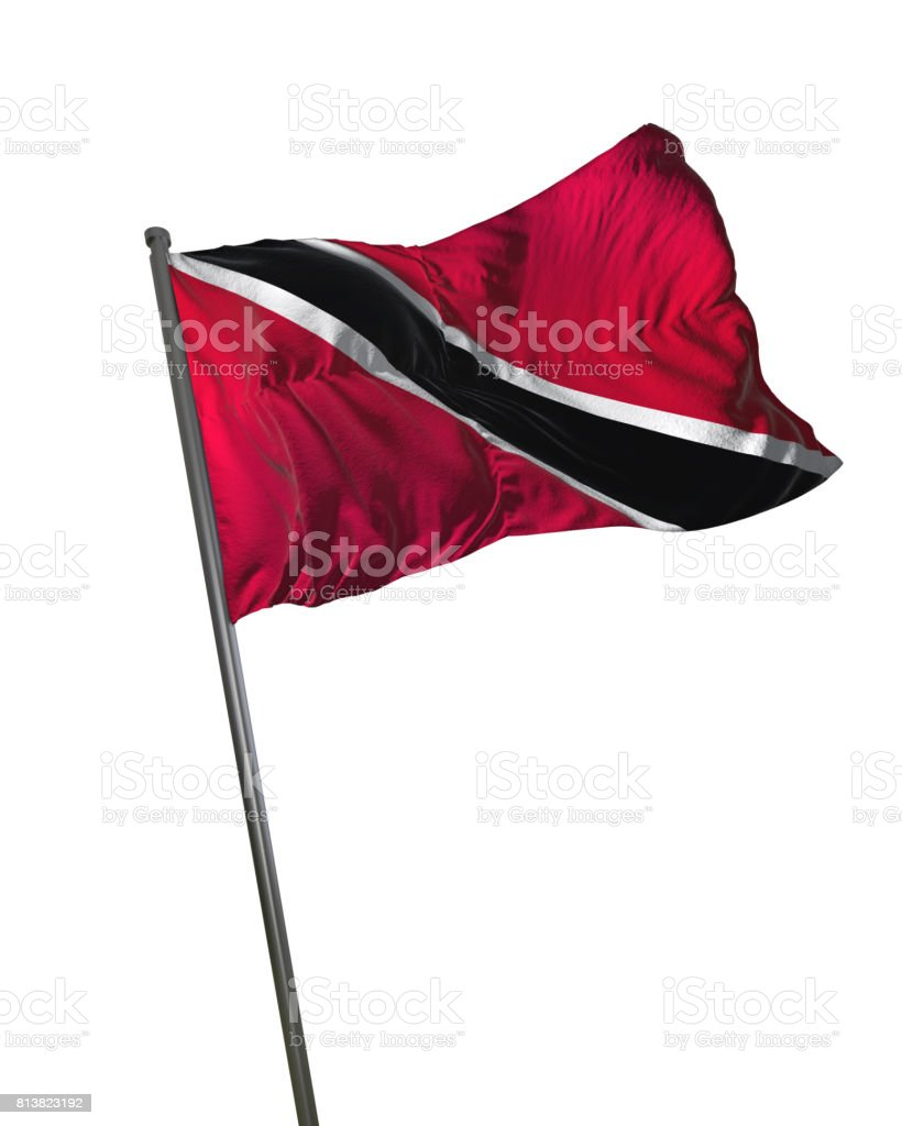Trinidad and Tobago Flag Waving Isolated on White Background Portrait stock photo