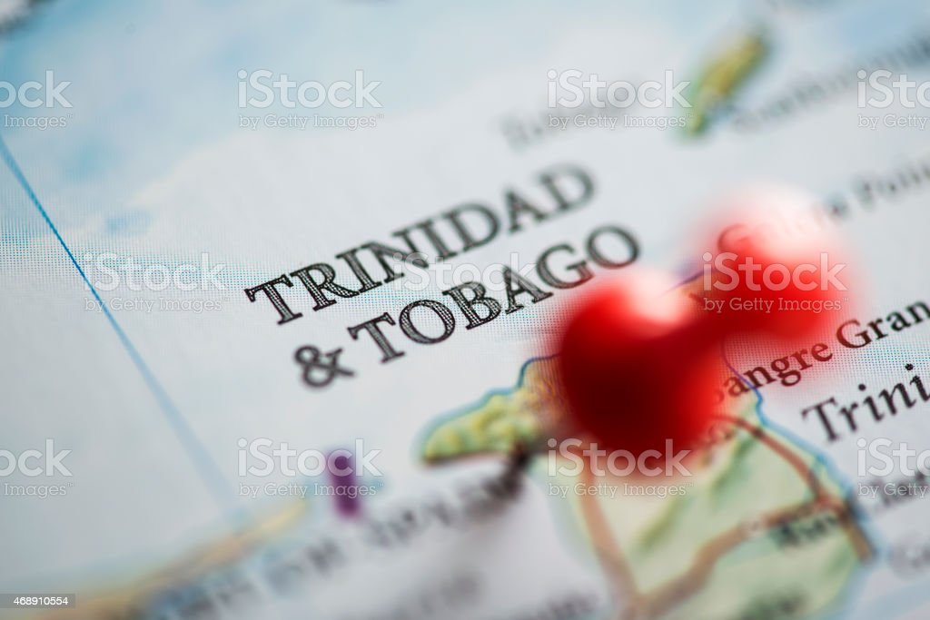 Trinidad and Tobago Pinned on Map stock photo