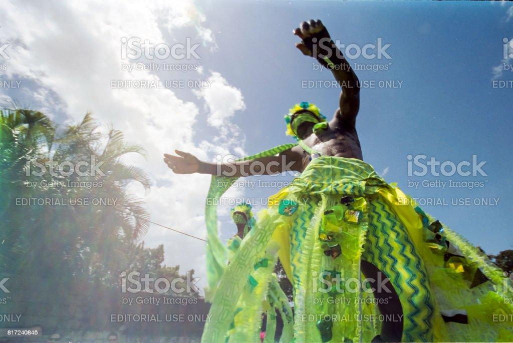 Trinidad Carnival 2006 Moko Jumbies stock photo