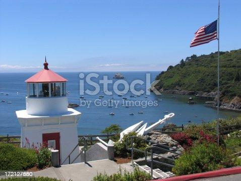 The Trinidad lighthouse monument on the California Coast