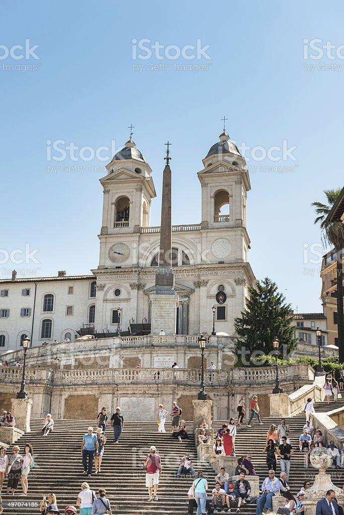 Trinita dei monti church in rome and spanish steps royalty-free stock photo