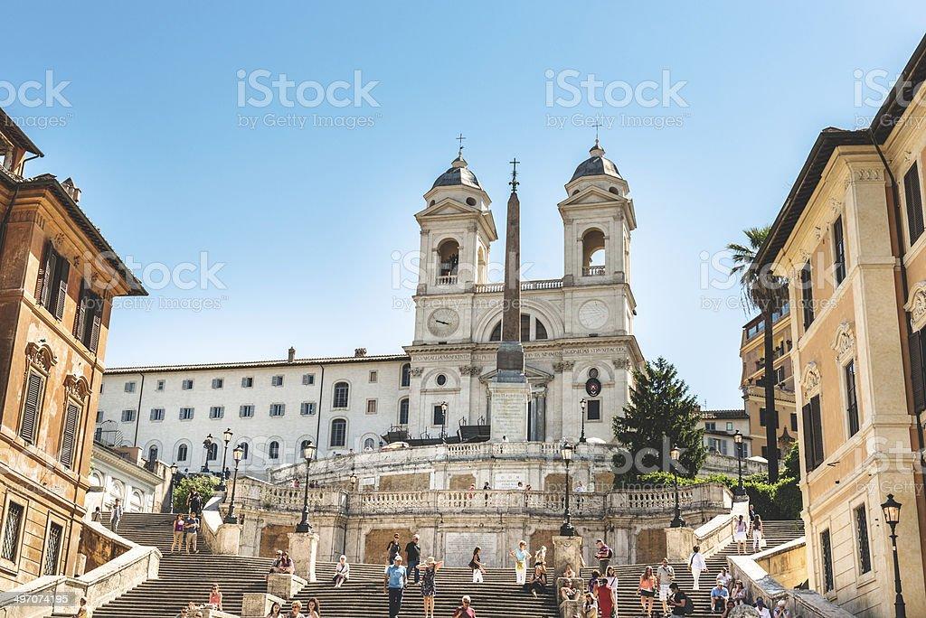 Trinita dei monti church in rome and spanish steps stock photo