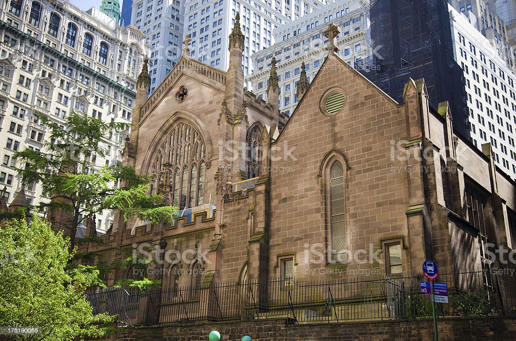 Trinity Church at Lower Manhattan in New York City stock photo