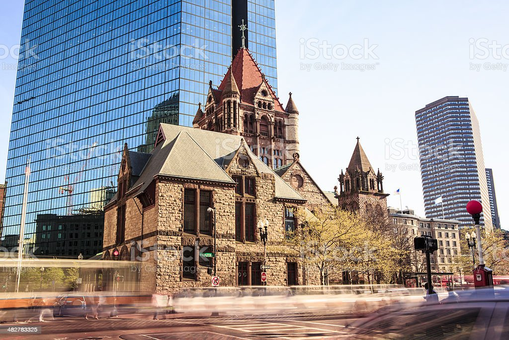 Trinity Church, Back Bay, Boston stock photo
