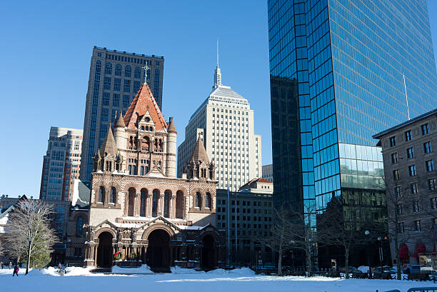 Trinity Church in Boston stock photo