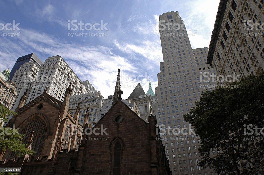 Trinity Church, Wall Street, New York City, USA royalty-free stock photo