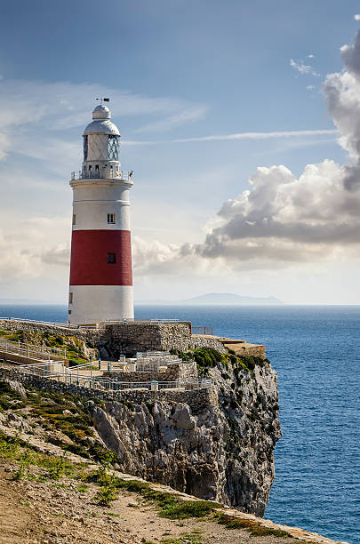 Trinity lighthouse at Gibraltar Europa Point. stock photo