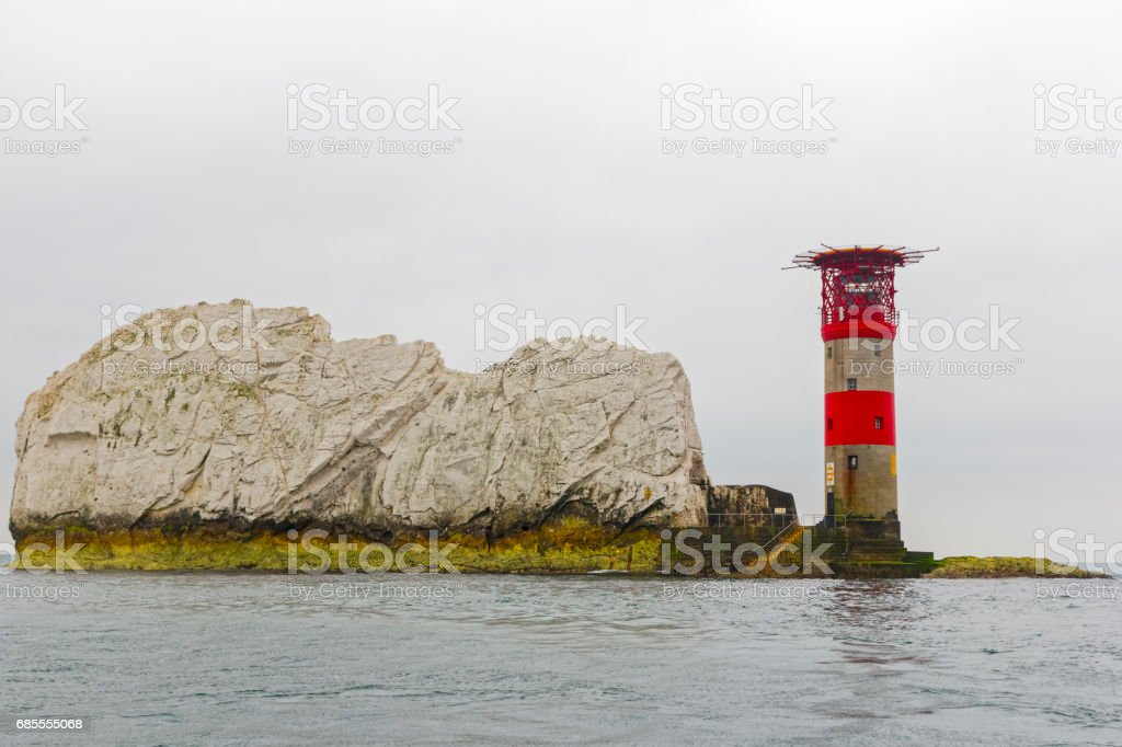 Trinity Lighthouse at the Needles, Isle of Wight, taken from a boat. stock photo