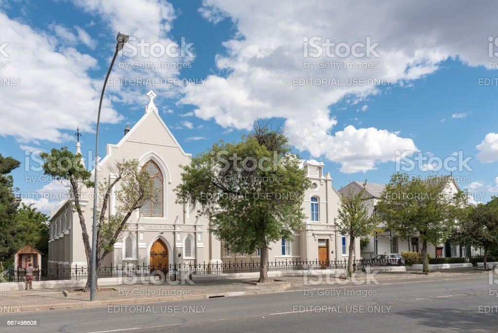 Trinity Methodist Church, hall and rectory in Graaff Reinet foto stock royalty-free