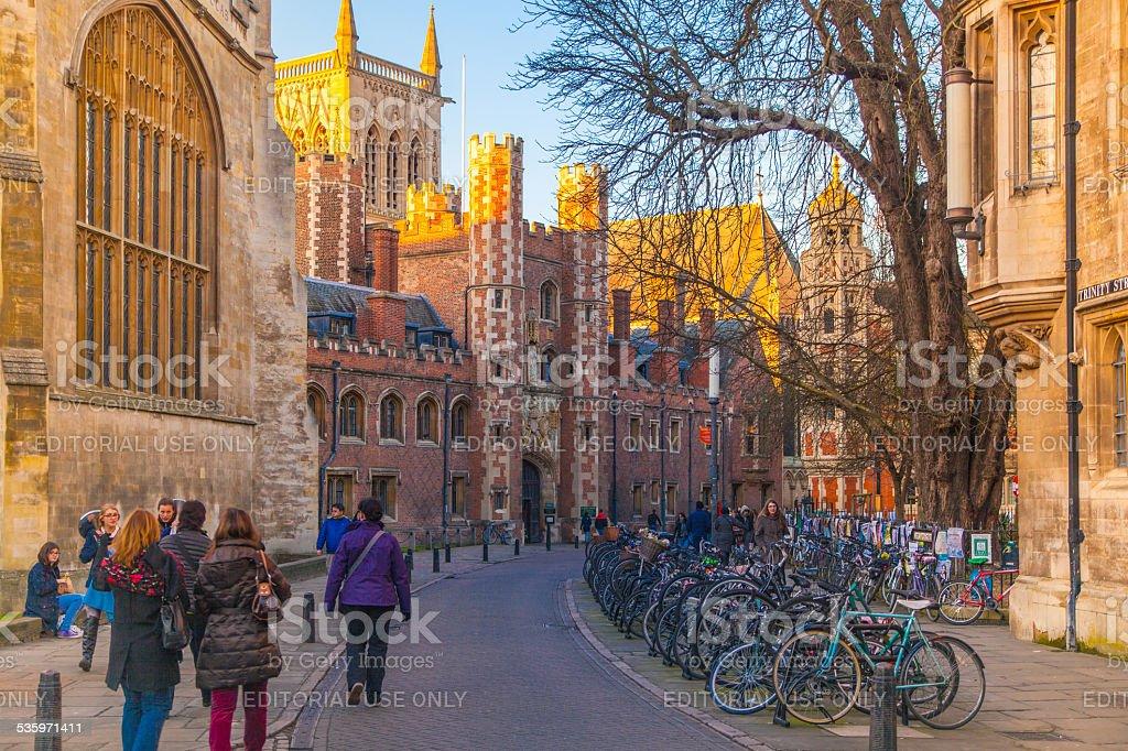 Trinity street with college view, Cambridge stock photo
