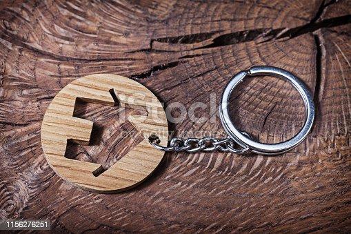 trinket house without  keys on wood background