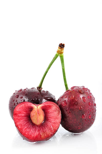 trio of cherries stock photo