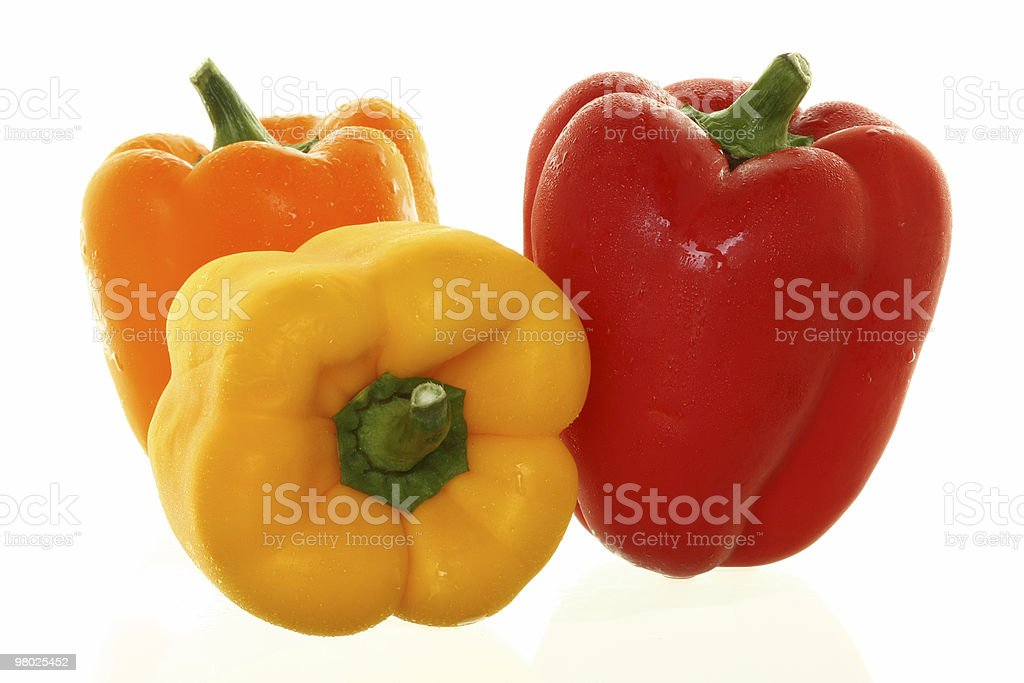 Trio of Colorful  Bell Peppers royalty-free stock photo