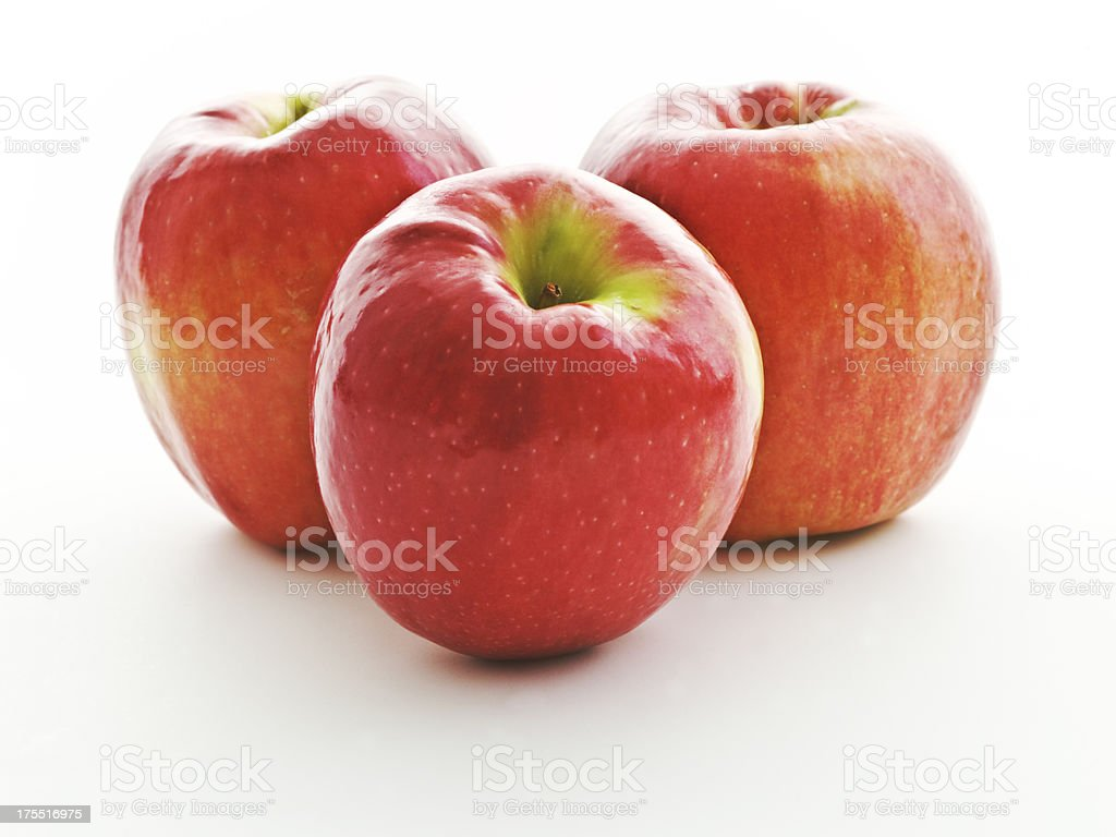 trio of Cripps Pink apples stock photo