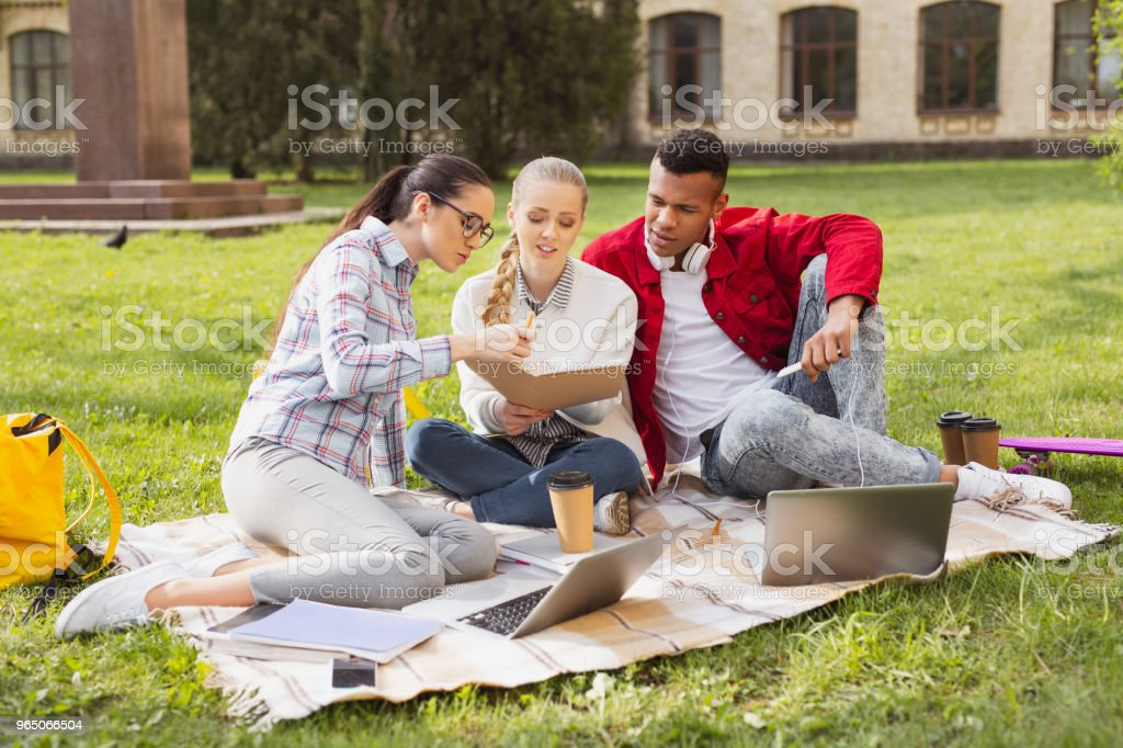 Trio of diligent students feeling engaged in serious project royalty-free stock photo
