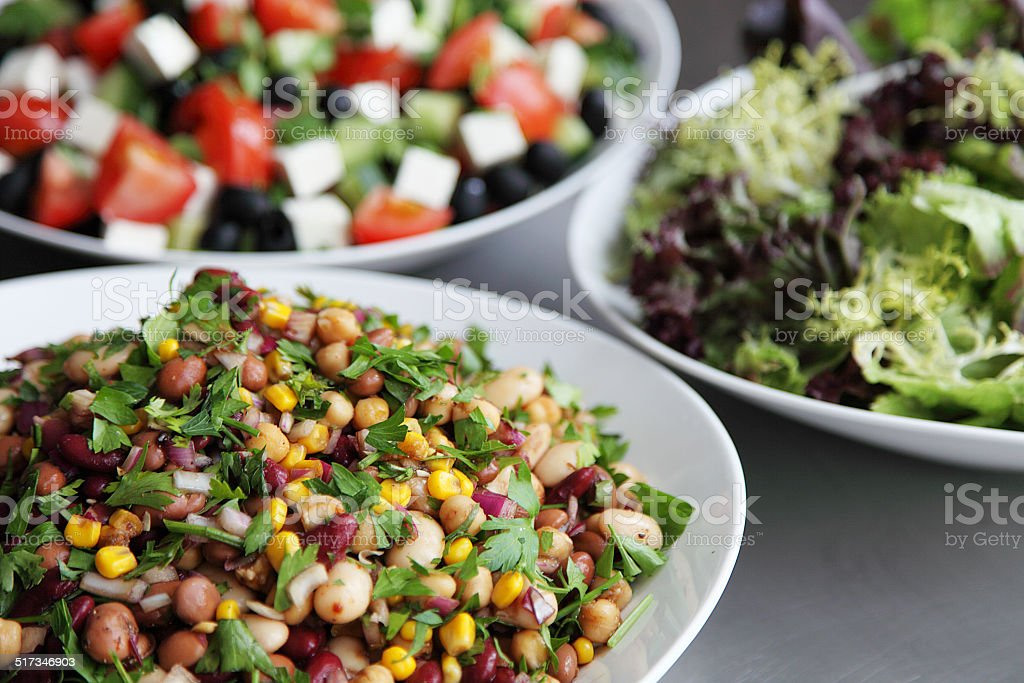 Trio of fresh salads stock photo