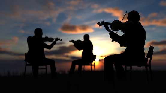 Trio of violin players sitting on chair and performing music outdoor with great view and sea 3d rendering