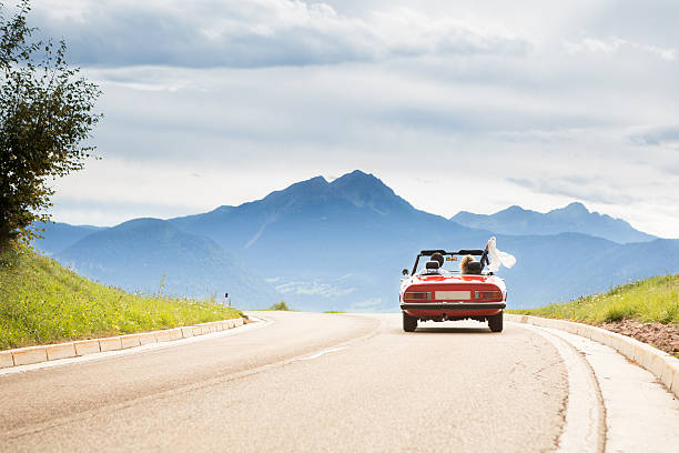 trip in a cabriolet - driving stock photos and pictures