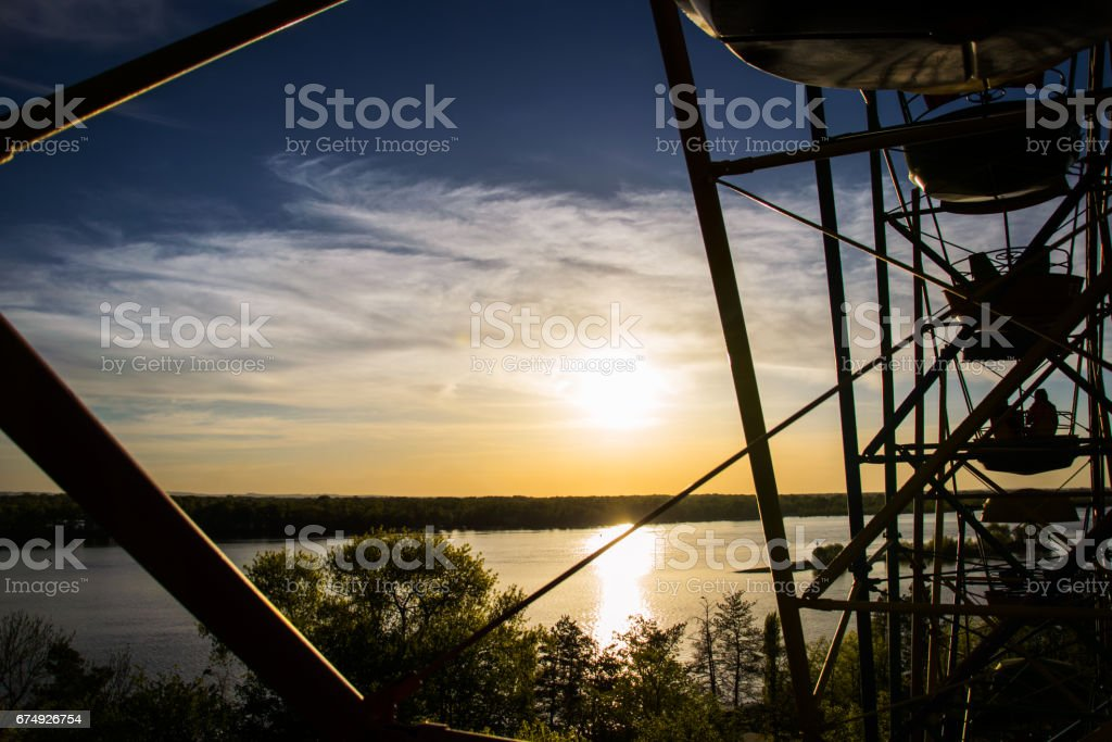 trip on the Ferris wheel. Scenic view from the height of bird flight royalty-free stock photo