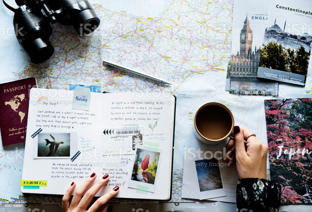 trip planning with map stock photo