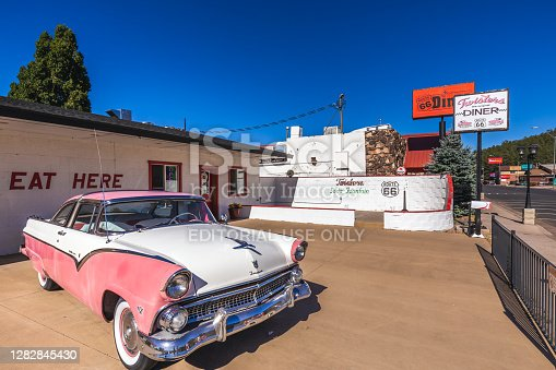 Goldie's Route 66 Diner In Williams Located On Historic Route 66. Williams, Arizona, Usa - September 27, 2018.