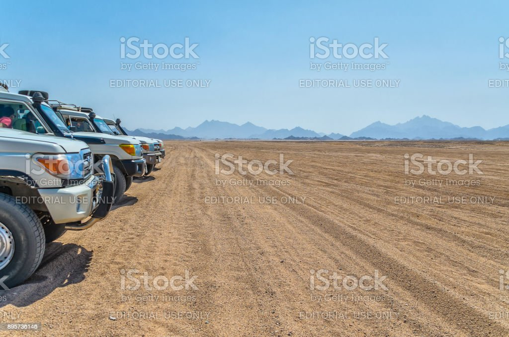 Trip Through The Hot Desert In Egypt On Cars Stock Photo Download Image Now Istock
