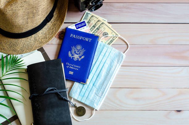 Trip vacation accessories for travel, tourism concept during coronavirus COVID-19 pandemic. stock photo
