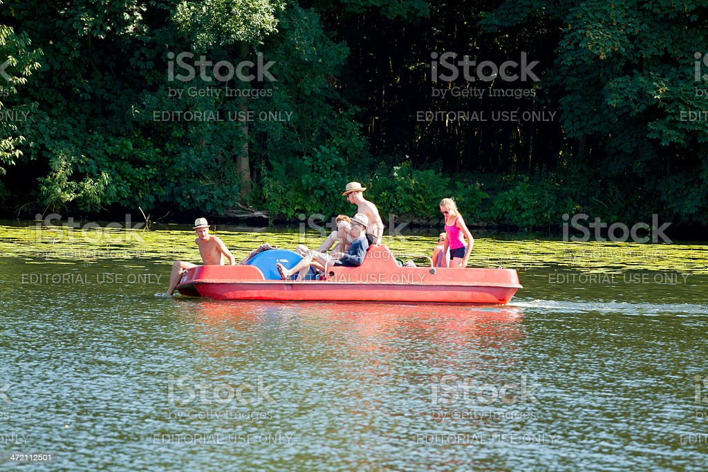 Trip with paddleboat stock photo