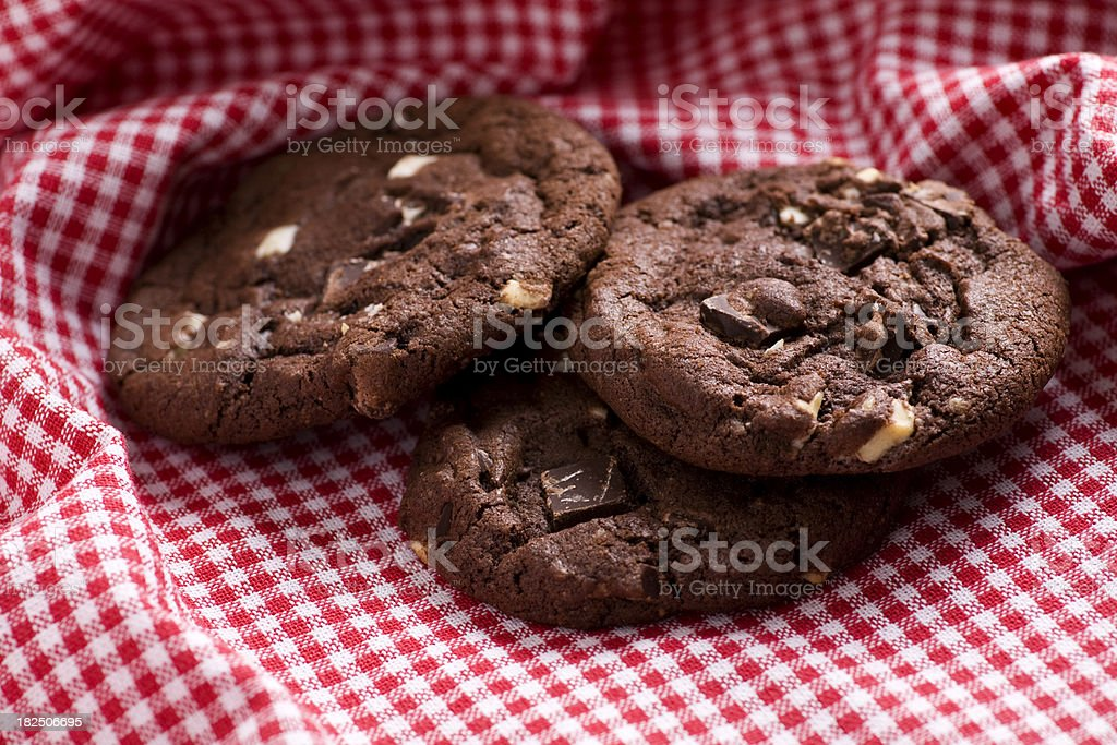 Triple chocolate chip cookies royalty-free stock photo