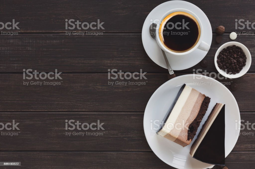 Triple chocolate layer mousse cake with glaze stock photo