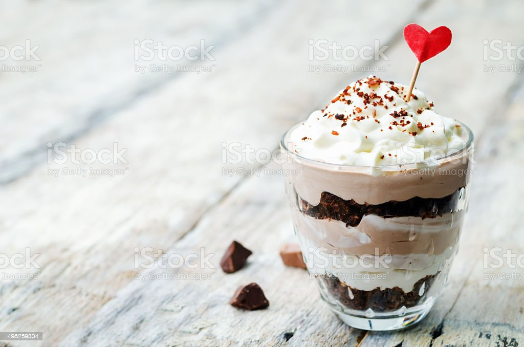Triple chocolate mousse dessert stock photo