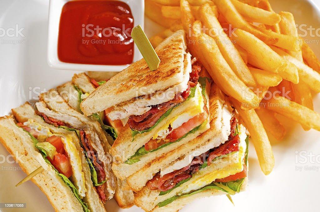 triple decker club sandwich stock photo
