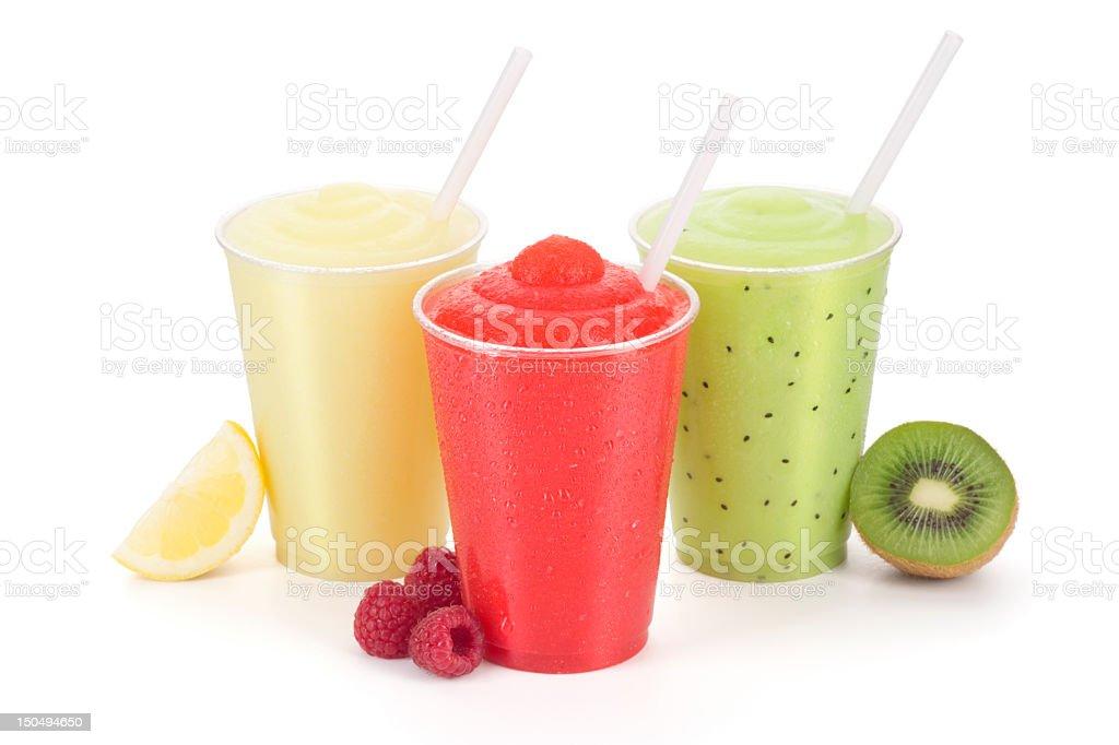 Triple Fruity Smoothie Treat - Frozen Lemonade, Raspberry, and Kiwi royalty-free stock photo