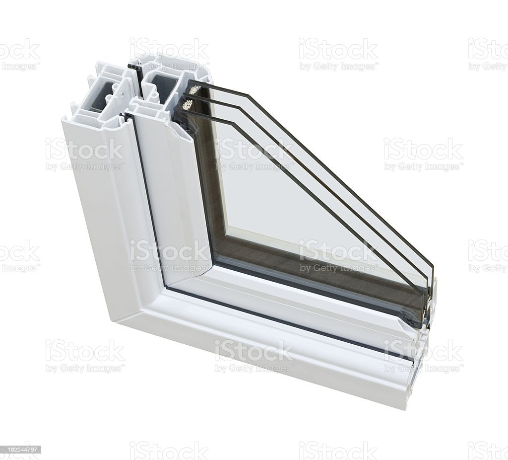 UPVC triple glazing cross section stock photo