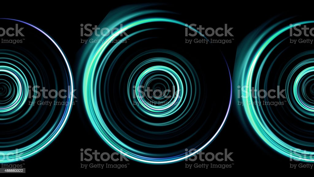 triple green rings flare pattern stock photo