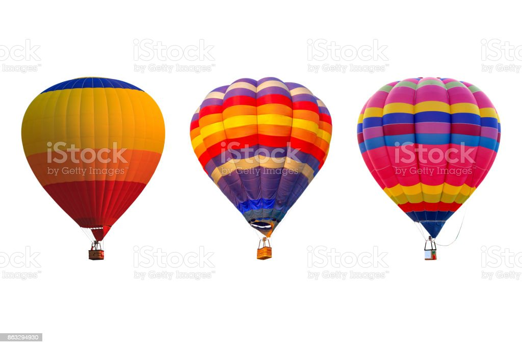 Triple hot air balloons isolated on white background стоковое фото