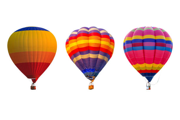 Triple hot air balloons isolated on white background stock photo