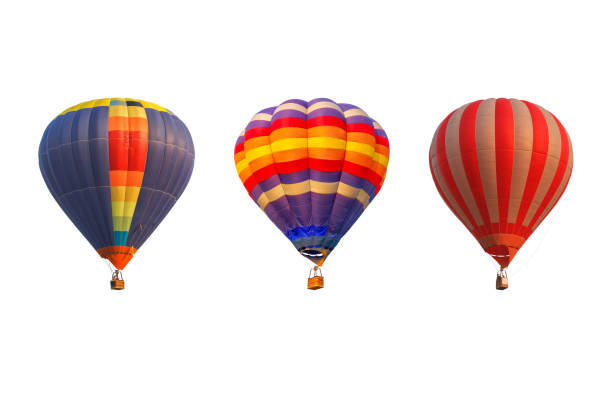 montgolfières triple isolés sur fond blanc - montgolfière photos et images de collection