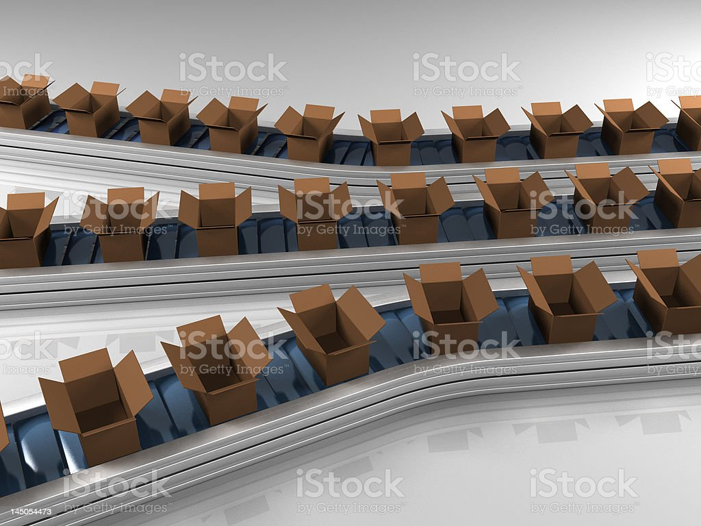 Triple row production line with open boxes royalty-free stock photo