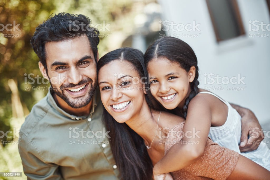 Triple times the happiness in our family stock photo