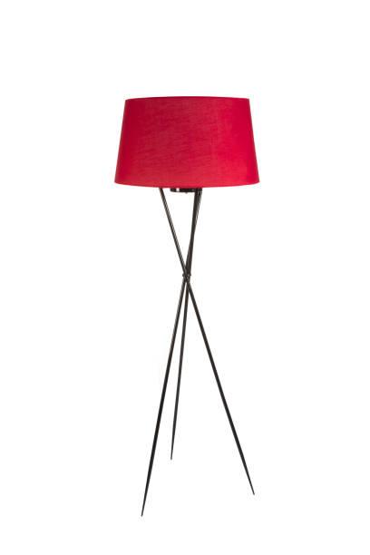 lampadaire trépied rouge isolé sur fond blanc - lampe électrique photos et images de collection