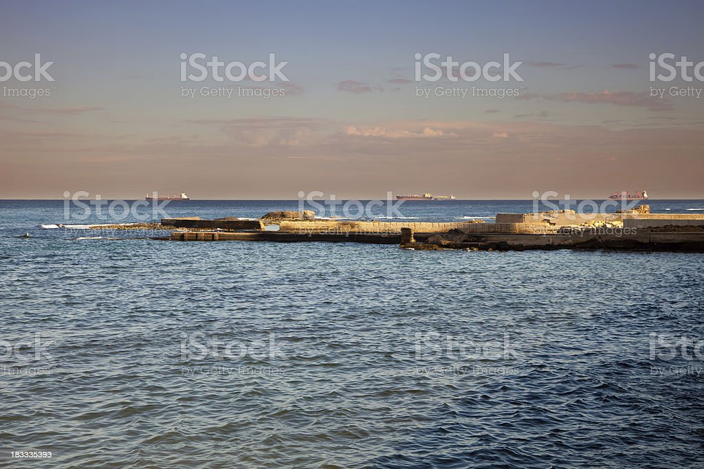 Tripoli shore near harbor, Libya royalty-free stock photo