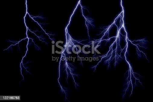 Close-up of lightning piercing night sky, Isolated on black background