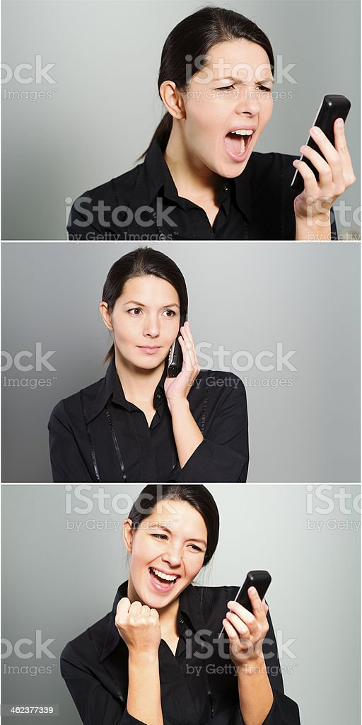 Triptych of a womans reactions to phone call royalty-free stock photo