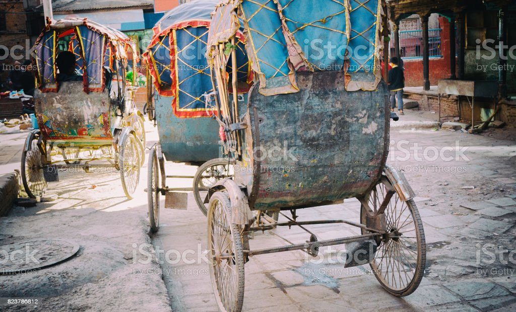 Trishaw in Kathmandu, Nepal stock photo