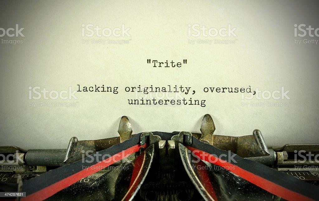 Trite... a Definition stock photo
