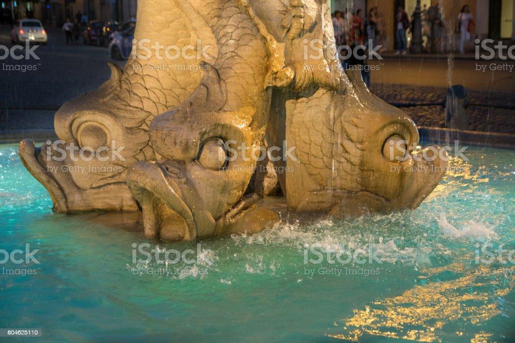 Triton Fountain at Night, Gian Lorenzo Bernini, Barberini square, Rome stock photo