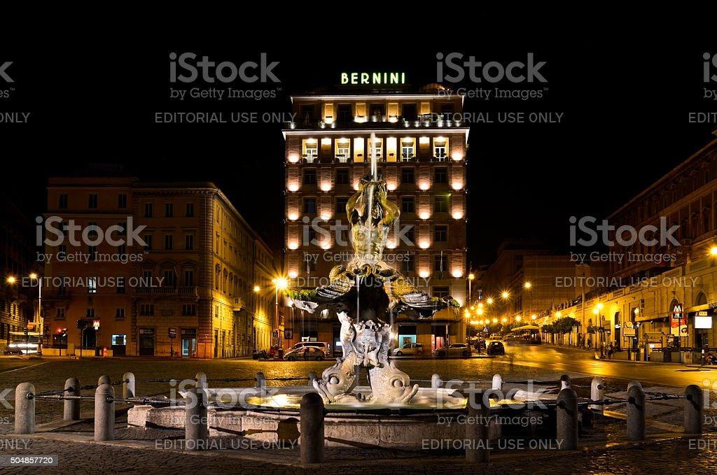 Triton Fountain in Rome at night stock photo