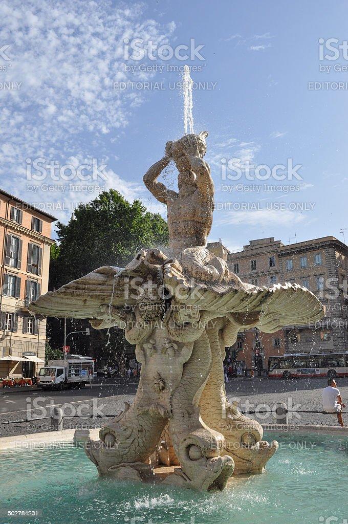 Triton Fountain in Rome stock photo